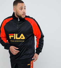 Fila Plus 1/4 zip track poly tricot sweatshirt with large logo in black - Черный