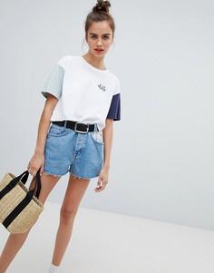 Синие джинсовые шорты с карманом в полоску Pull&Bear - Синий Pull&;Bear
