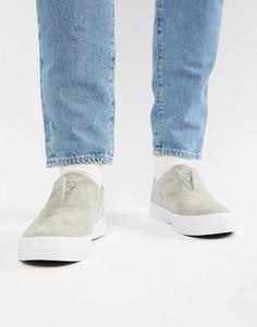 Серые замшевые кроссовки-слипоны HUF Dylan - Серый