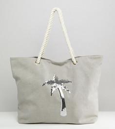 Выбеленная серая пляжная сумка с пальмой из пайеток South Beach - Серый