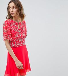 Декорированное короткое приталенное платье 2 в 1 Frock And Frill - Розовый