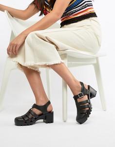 Резиновые босоножки на каблуке ASOS DESIGN - Черный
