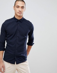 Приталенная трикотажная рубашка Jack & Jones Premium - Темно-синий