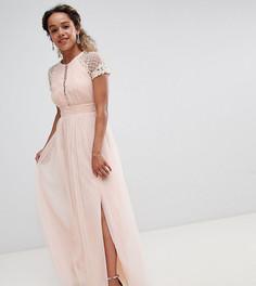 Платье макси с декорированным лифом Little Mistress Petite - Розовый