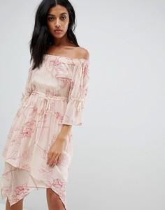 Платье с открытыми плечами и цветочной вышивкой AllSaints - Розовый