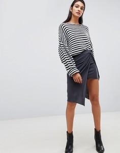 Трикотажная юбка миди с запахом AllSaints - Черный