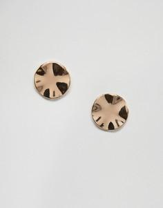 Кованые серьги-гвоздики Pieces - Золотой