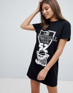 Missguided Basketball Slogan T-Shirt Dress - Черный