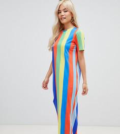 Платье-футболка макси в разноцветную полоску ASOS DESIGN Petite Ultimate - Мульти