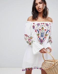 Платье с цветочной вышивкой Raga - Белый
