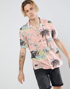 Розовая рубашка с короткими рукавами и гавайским принтом AllSaints - Розовый
