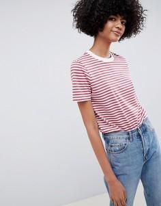 Свободная футболка в полоску Selected Femme - Красный