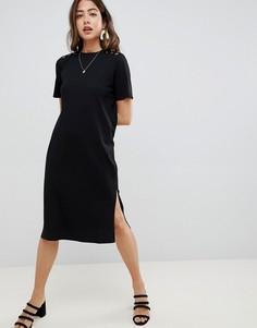 Платье-футболка миди с открытой спиной и люверсами ASOS DESIGN - Черный