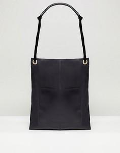 Кожаная сумка-шоппер в винтажном стиле с передним карманом ASOS DESIGN - Черный