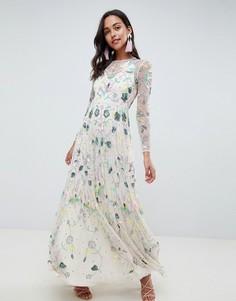 Платье макси с цветочной отделкой ASOS EDITION - Фиолетовый