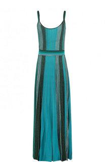 Плиссированное платье-макси на тонких бретельках Missoni