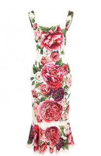 Приталенное шелковое платье-миди с принтом Dolce & Gabbana