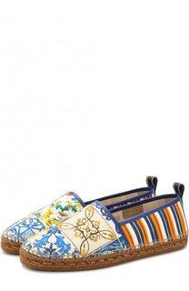 Текстильные эспадрильи с кожаной отделкой Dolce & Gabbana