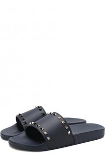 Резиновые шлепанцы Valentino Garavani с отделкой Valentino