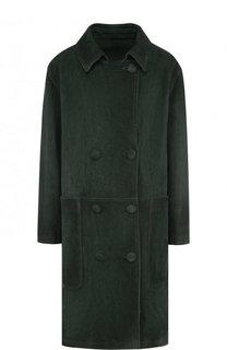 Однотонное двустороннее пальто из замши Golden Goose Deluxe Brand