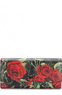 Кожаный кошелек с клапаном и цветочным принтом Dolce & Gabbana