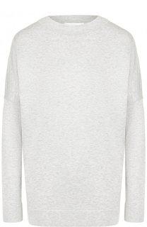 Однотонный пуловер из смеси шелка и хлопка BOSS