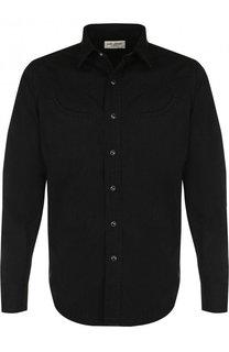 Хлопковая рубашка на кнопках Saint Laurent