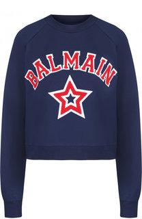 Хлопковый пуловер с круглым вырезом и логотипом бренда Balmain
