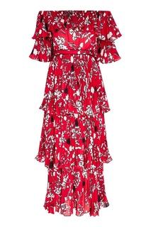 Плиссированное платье-миди с цветами Self Portrait