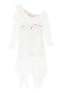 Белое платье с асимметричным подолом Self Portrait