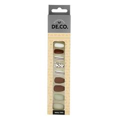 Набор накладных ногтей DE.CO. ALMONDY leo stripes 24 шт + клеевые стикеры 24 шт Deco