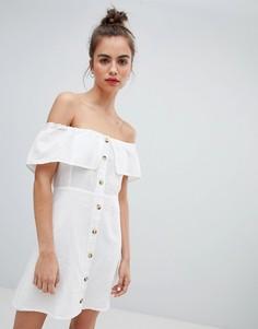 Белое платье на пуговицах Pull&Bear - Мульти Pull&;Bear