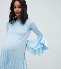 Платье с плиссировкой и оборками ASOS DESIGN maternity - Синий