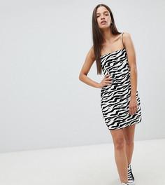 Milk It Vintage cami dress in zebra - Черный