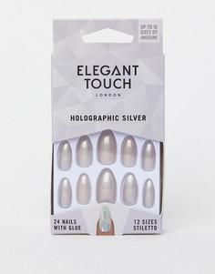 Серебристые накладные ногти с голографическим эффектом Elegant Touch Stiletto - Серебряный