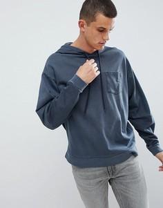 Oversize-худи темно-синего цвета со вставками на рукавах ASOS DESIGN - Темно-синий