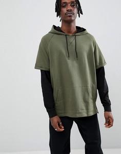 Oversize-худи цвета хаки с контрастными двойными рукавами ASOS DESIGN - Зеленый