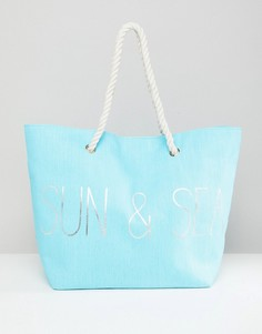 Синяя пляжная сумка с принтом Sun & Sea South Beach - Синий