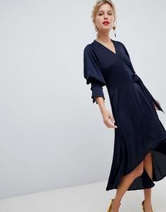 Атласное платье с запахом и асимметричным подолом Y.A.S - Темно-синий