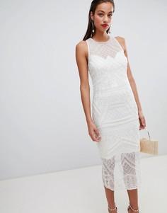 Платье миди с бахромой и жемчужной отделкой ASOS DESIGN - Белый
