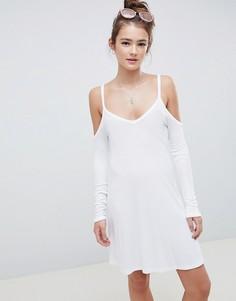 Свободное платье мини с открытыми плечами ASOS DESIGN - Белый