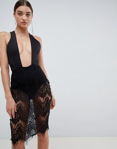 Rare London wrap front backless lace mini dress - Черный