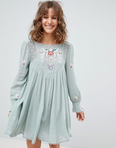 Платье мини с вышивкой Free People Mohave - Зеленый