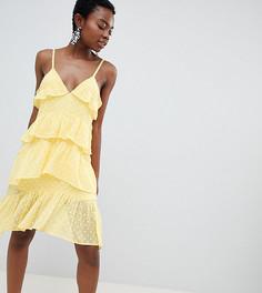Платье мини на бретелях с оборками Vero Moda Petite - Желтый