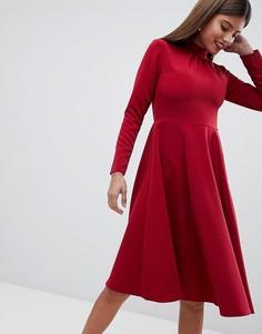 Короткое приталенное платье миди Closet London - Красный