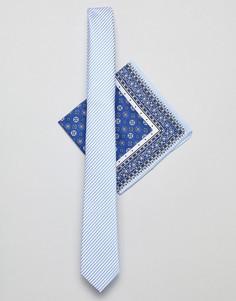 Узкий галстук в синюю полоску и платок для пиджака с принтом пейсли ASOS DESIGN - Синий