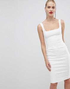 Белое платье-футляр с квадратным вырезом Vesper - Белый
