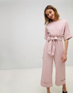 Комбинезон с широкими брюками и поясом на талии Lost Ink - Розовый