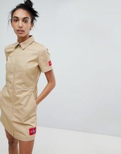 Платье на молнии с добавлением хлопка Calvin Klein - Бежевый