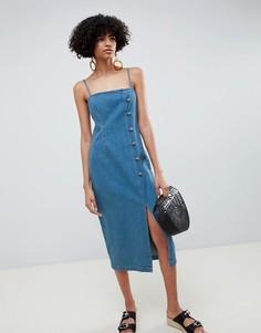 Синее джинсовое платье с пуговицами ASOS DESIGN - Синий